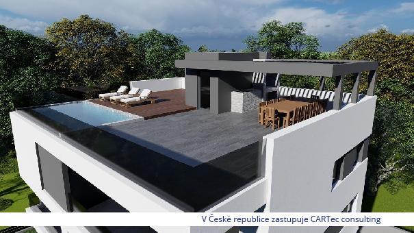 ZADAR/okolí - Prodej luxusního apartmánu s bazénem a s překrásným výhledem na moře