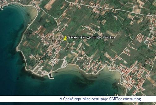 PRIVLAKA -  Stavební pozemek 450 m od moře (možnost nákupu i jen poloviny pozemku)