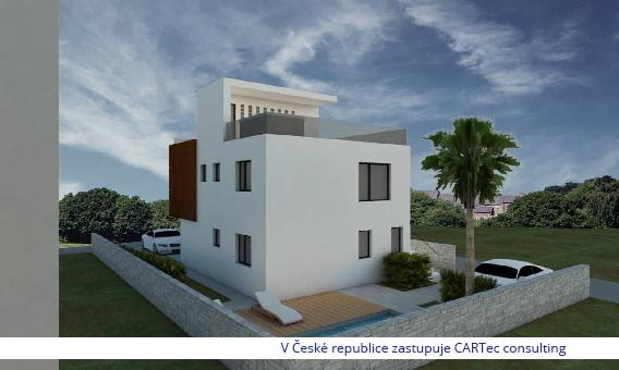 NIN / ZATON - Novostavba moderního domu se dvěma byty a bazénem - 300m od moře
