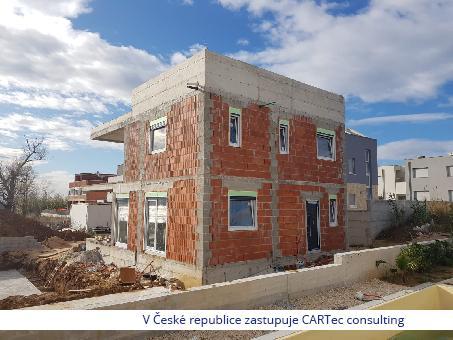 Privlaka - Prodej moderní vily ve výstavbě s výhledem na moře - 194 m od pláže